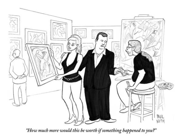 Mob Drawing - A Mobster-looking Man Hands Money by Paul Noth
