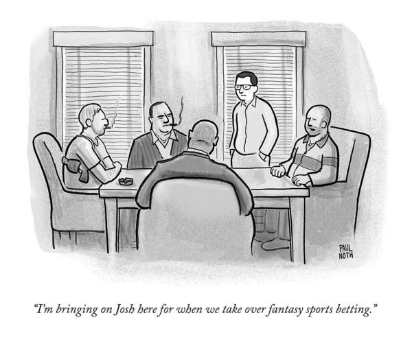 Crime Drawing - A Mobster Speaks To A Table Of Mobsters by Paul Noth