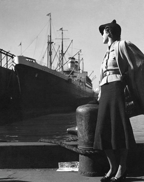 Boat Photograph - A Model At A Port by Toni Frissell