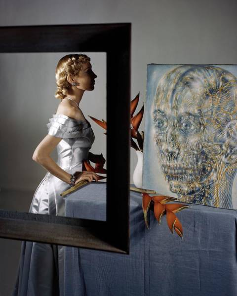 Blue Photograph - A Model By Pavel Tchelitchew's The Head Of Gold by Horst P. Horst