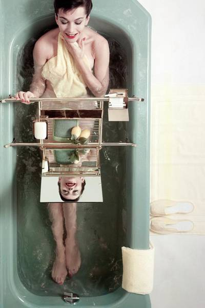 Mirror Photograph - A Model In A Bathtub by Herbert Matter
