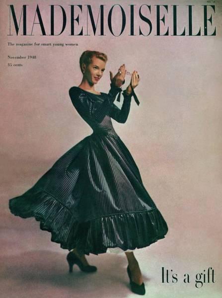 Black Background Photograph - A Model In A Dress By Motley Of London by Gene Fenn