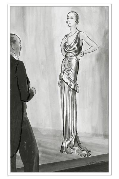 Lame Digital Art - A Model In A Lanvin Gown by Rene Bouet-Willaumez