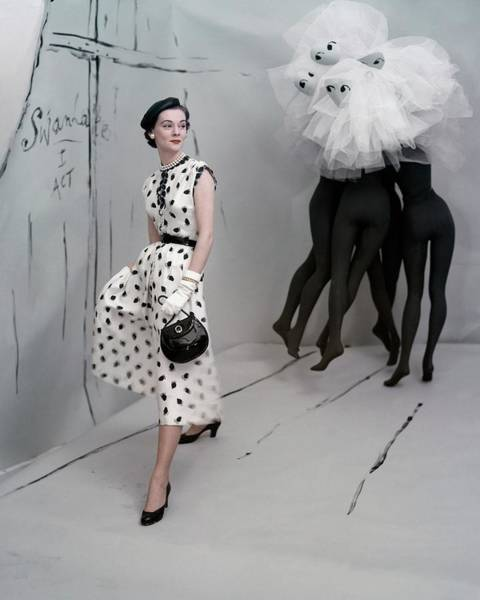 Black Background Photograph - A Model In A Mollie Parnis Dress by Horst P. Horst