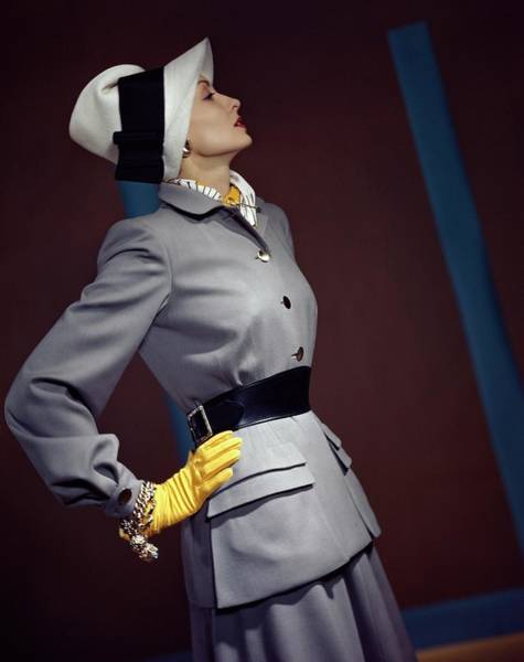 Profile Photograph - A Model In A Vogue Couturier Suit by Horst P. Horst