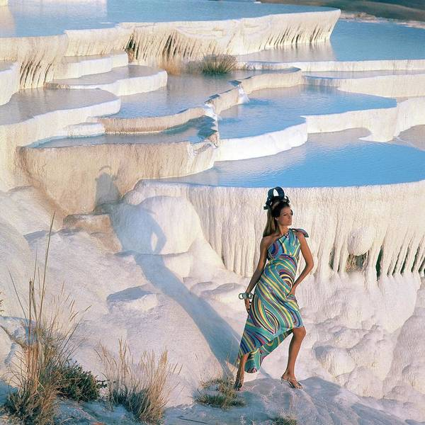Outdoor Photograph - A Model On The Cliffs Of Pamukkale by Henry Clarke