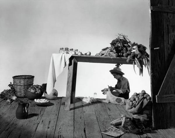 January 1st Photograph - A Model Peeling Potatoes by Horst P. Horst