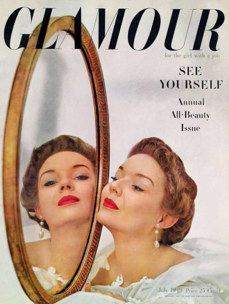 Mirror Photograph - A Model Posing Against A Mirror by John Rawlings
