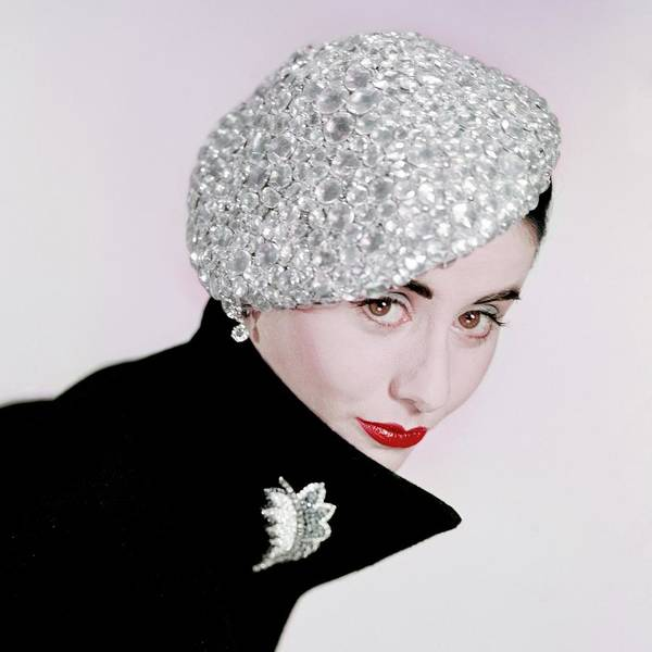 1951 Photograph - A Model Wearing A Beret Covered In Beads by Erwin Blumenfeld