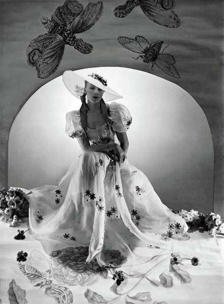 Lanvin Photograph - A Model Wearing A Bridesmaid Dress by Horst P. Horst