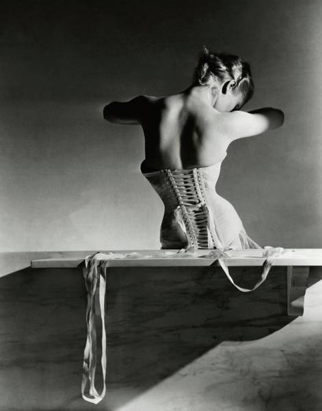 Monochrome Photograph - The Mainbocher Corset by Horst P Horst