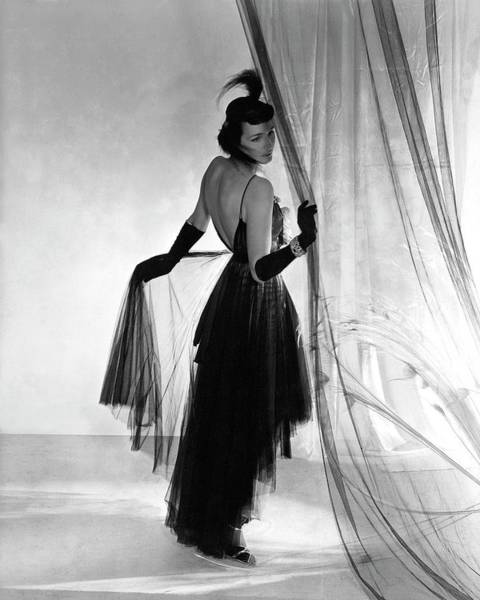 1936 Photograph - A Model Wearing A Dress And Gloves by Horst P. Horst