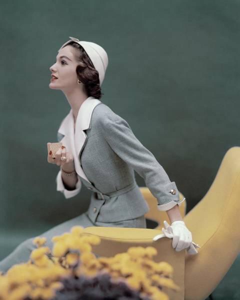 Photograph - A Model Wearing A George Carmel Suit by Karen Radkai