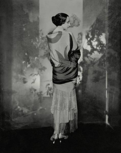 Screen Photograph - A Model Wearing A Hand Painted Shawl by Edward Steichen