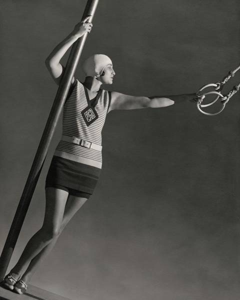 Photograph - A Model Wearing A Jean Patou Bathing Suit by George Hoyningen-Huene