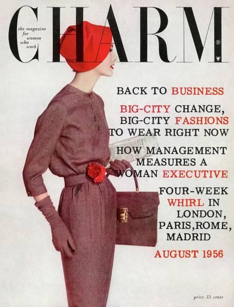 Briefcase Photograph - A Model Wearing A Jerry Gilden Dress by Louis Faurer