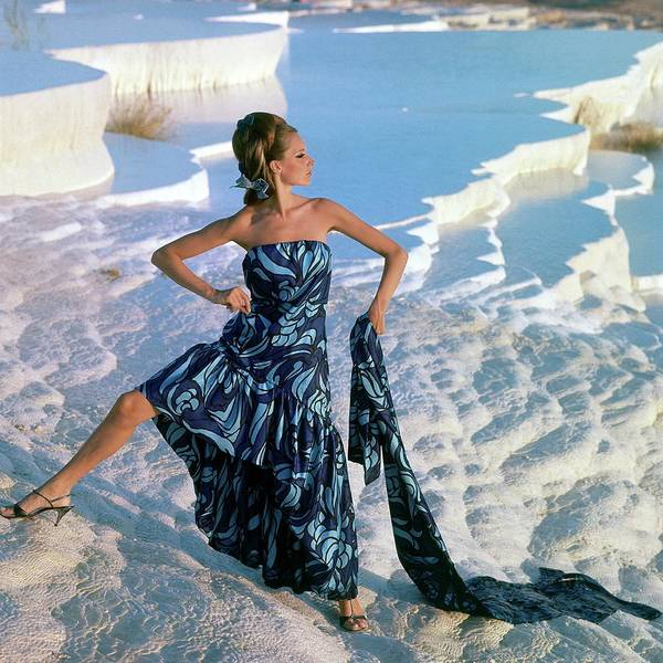 Travel Destinations Photograph - A Model Wearing A Jobere Dress by Henry Clarke