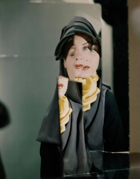 Photograph - A Model Wearing A John Frederic Hat by Erwin Blumenfeld