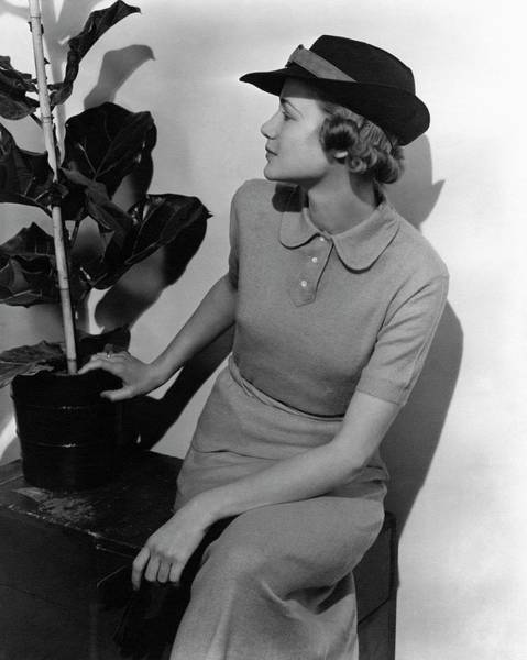 Plant Photograph - A Model Wearing A Knit Dress by Lusha Nelson
