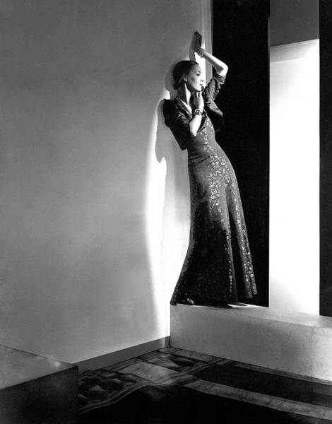 1936 Photograph - A Model Wearing A Lame Dress by Horst P. Horst