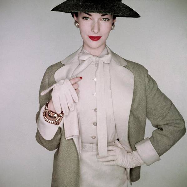 January 1st Photograph - A Model Wearing A Linen Blouse by Clifford Coffin