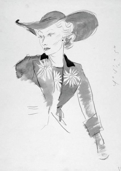 Straw Hat Digital Art - A Model Wearing A Marcel Rochas Suit by Cecil Beaton