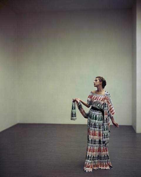 Photograph - A Model Wearing A Patterned Dress by Horst P. Horst