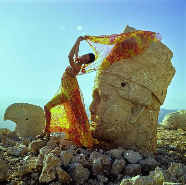 Stone Photograph - A Model Wearing A Pauline Trigere Dress And Scarf by Henry Clarke