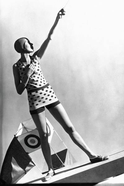 2007 Photograph - A Model Wearing A Polka Dot Swimsuit by George Hoyningen-Huene