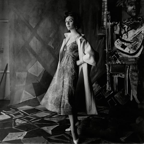 Photograph - A Model Wearing A Printed Dress And Jacket by Henry Clarke