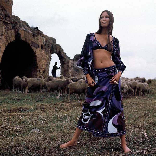 Group Of People Photograph - A Model Wearing A Purple Pucci Pattern by Henry Clarke