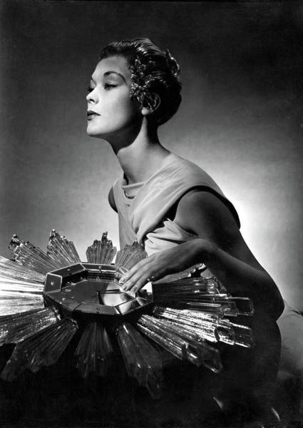Mirror Photograph - A Model Wearing A Schiaparelli Dress by Horst P. Horst