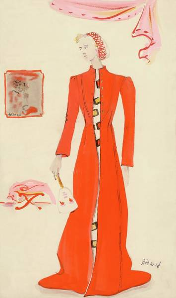 A Model Wearing A Schiaparelli Military Red Coat Art Print