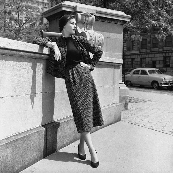 Footpath Photograph - A Model Wearing A Tweed Suit by Horst P. Horst