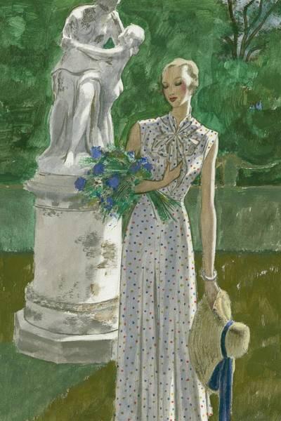 Flower Digital Art - A Model Wearing A Vionnet Dress by Pierre Mourgue