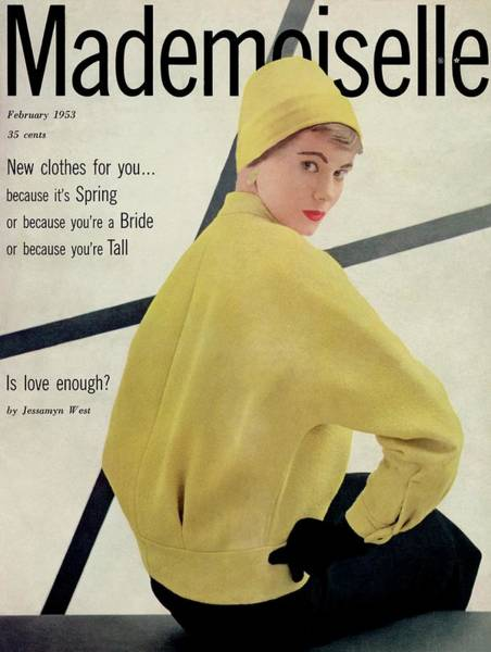 Yellow Background Photograph - A Model Wearing A Wool Boucle And Skirt by Stephen Colhoun