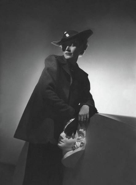 1936 Photograph - A Model Wearing A Wool Jacket And Hat by Horst P. Horst