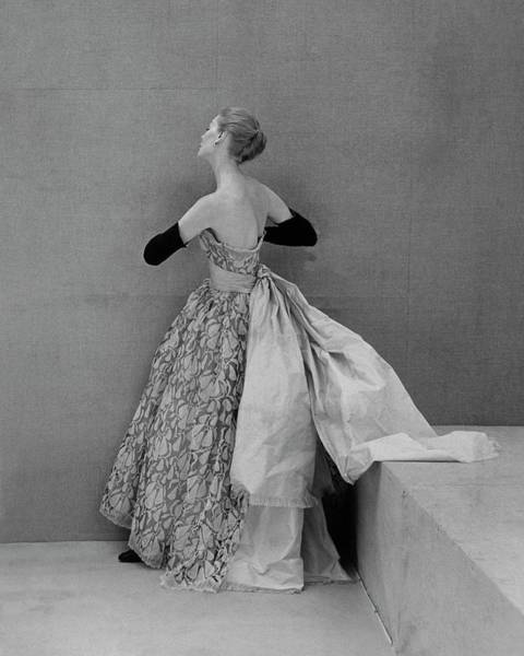 1951 Photograph - A Model Wearing An Evening Gown by Henry Clarke