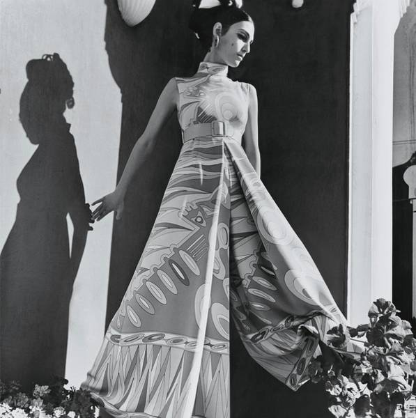 Pajamas Photograph - A Model Wearing An Evening Wear by Henry Clarke