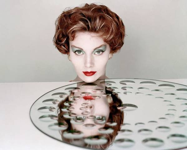 Mirror Photograph - A Model Wearing Clairol Hair Dye by Richard Rutledge