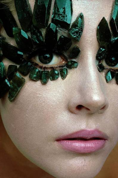 Photograph - A Model Wearing Eye Ornaments by Gianni Penati