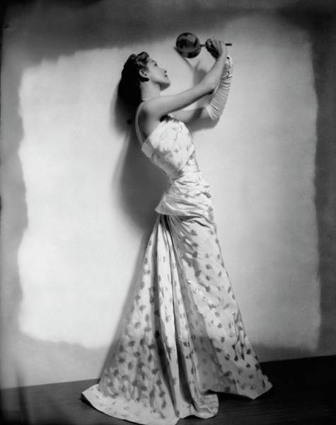 Leaf Photograph - A Model Wearing Leaf Patterned Dress by Cecil Beaton