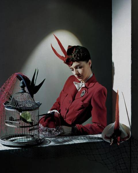 Down Feather Photograph - A Model Wearing Red by Horst P. Horst