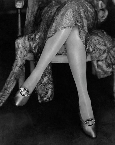 Shoe Photograph - A Model Wearing Satin Shoes by Edward Steichen