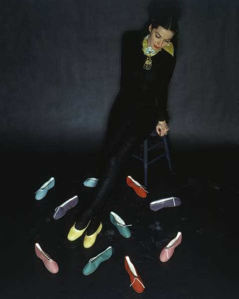 Photograph - A Model With Footlights Ballet Slippers by John Rawlings
