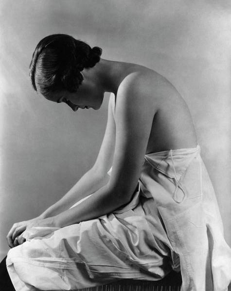 Bending Over Photograph - A Model With Her Eyes Closed by Lusha Nelson