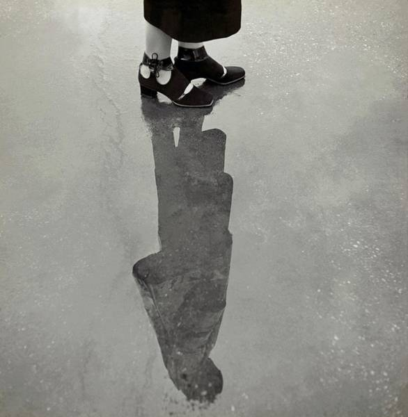 Outdoor Photograph - A Model's Feet Wearing R. R. Bunting Shoes by Roger Schall