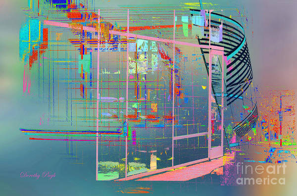 Digital Art - A Modern Art Museum At Night by Dorothy  Pugh
