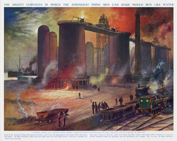 Steel Drawing - A Modern Steelworks - Iron  Running by Mary Evans Picture Library