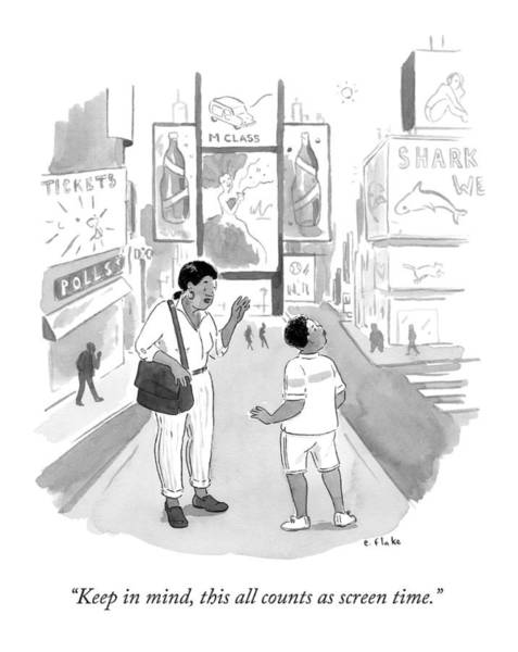 Mom Drawing - A Mom Says To Her Enraptured Son In Times Square by Emily Flake